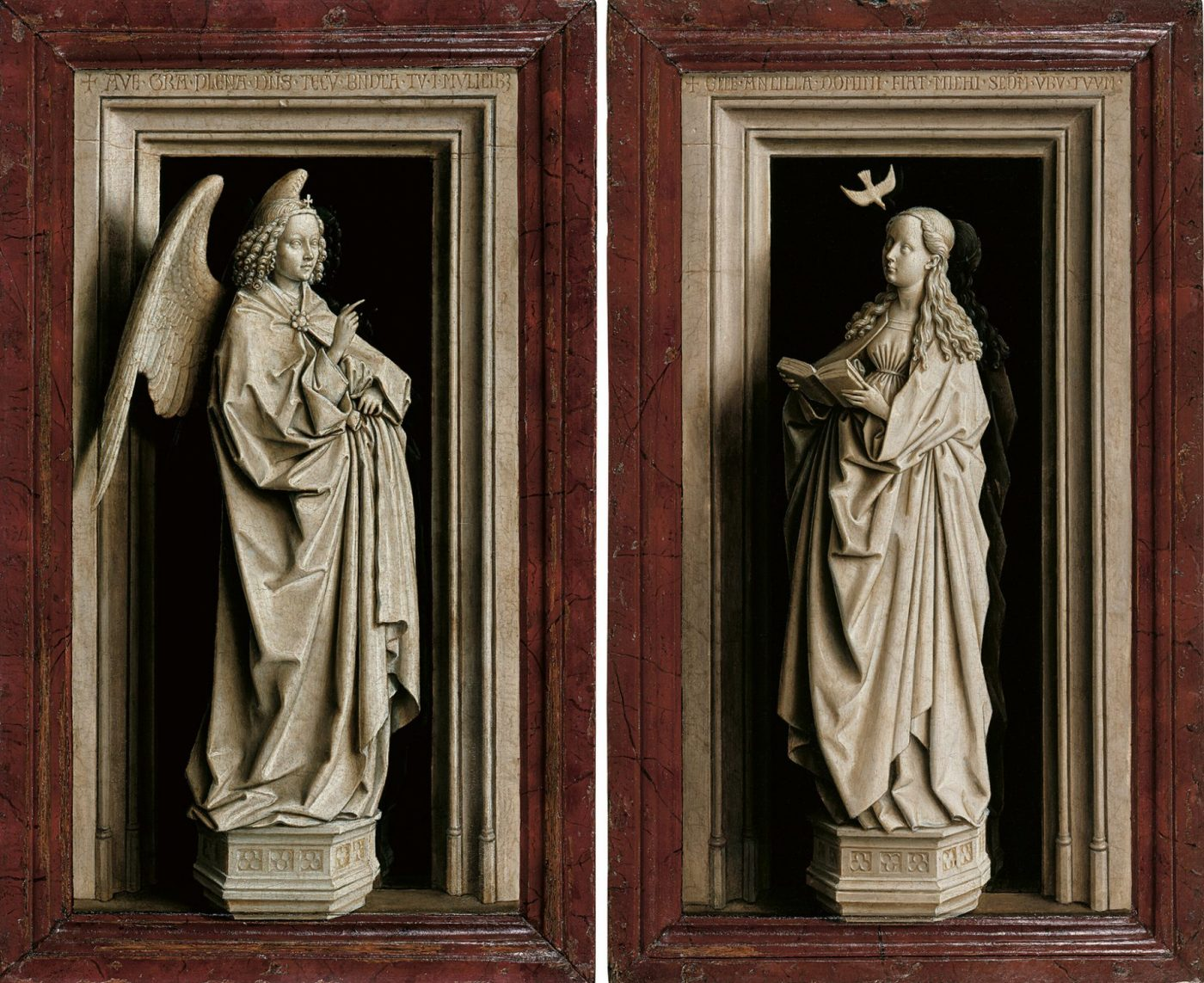 Jan van Eyck, The Annunciation Diptych, c. 1433-35 (Museo Nacional Thyssen-Bornemisza, Madrid)