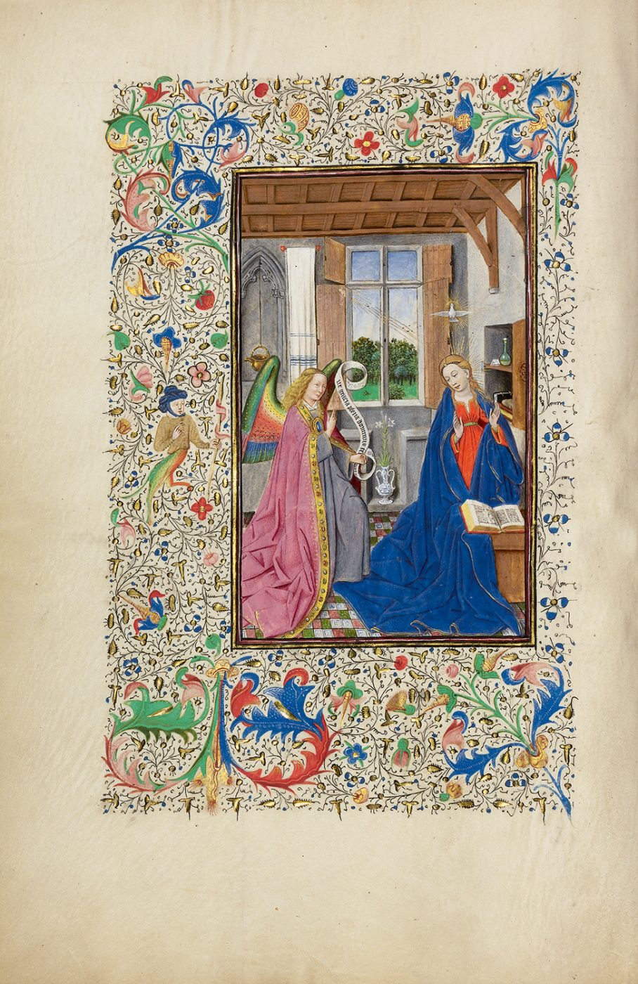 Willem Vrelant, De Annunciatie, uit Het Llangattock-getijdenboek, ca. 1450 (The J. Paul Getty Museum, Los Angeles)