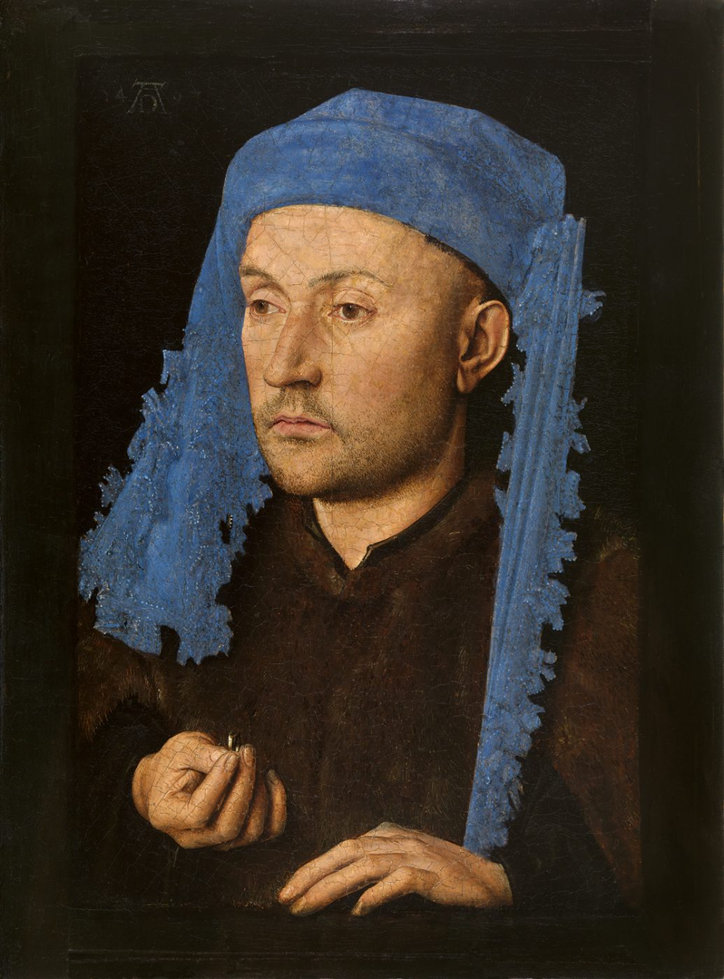 Jan van Eyck, Portrait of a Man with a Blue Chaperon, c. 1428−30 (Muzeul National Brukenthal, Sibiu, Romania)