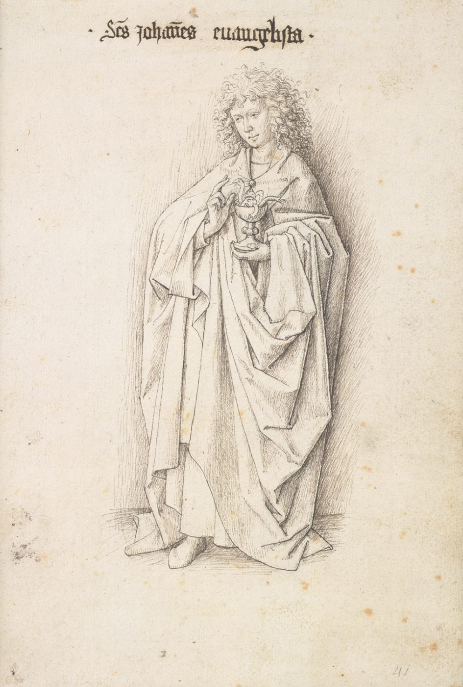 Studio of Jan van Eyck, St. John the Evangelist, from the series The Twelve Apostles, c. 1440, Albertina, Vienna