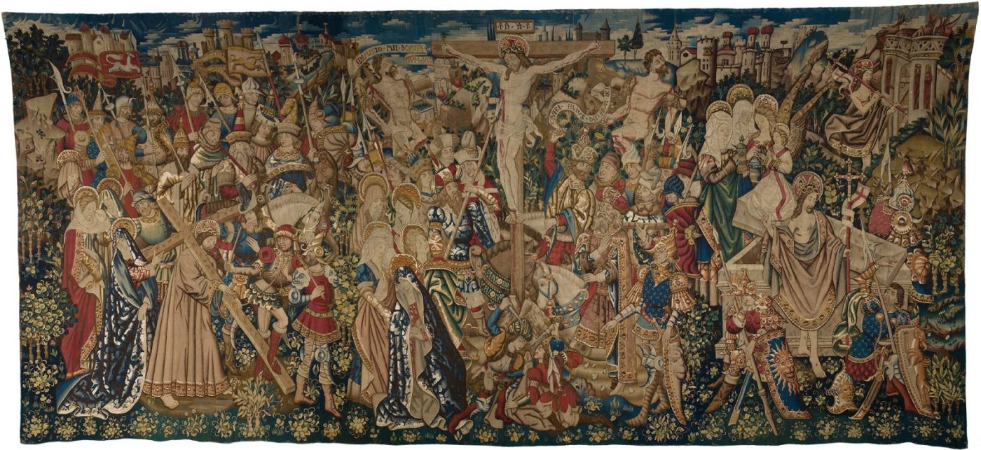 Anonymous (Tournai), Tapestry with scenes from the passion of Christ: the Crucifixion, c. 1450 (Royal Museums of Art and History, Brussels)