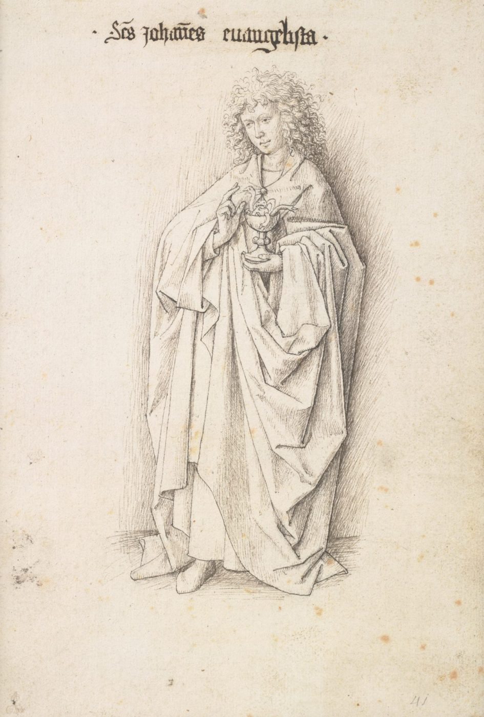 Studio of Jan van Eyck, St. John the Evangelist, from the series The Twelve Apostles, c. 1440 (Albertina, Vienna)
