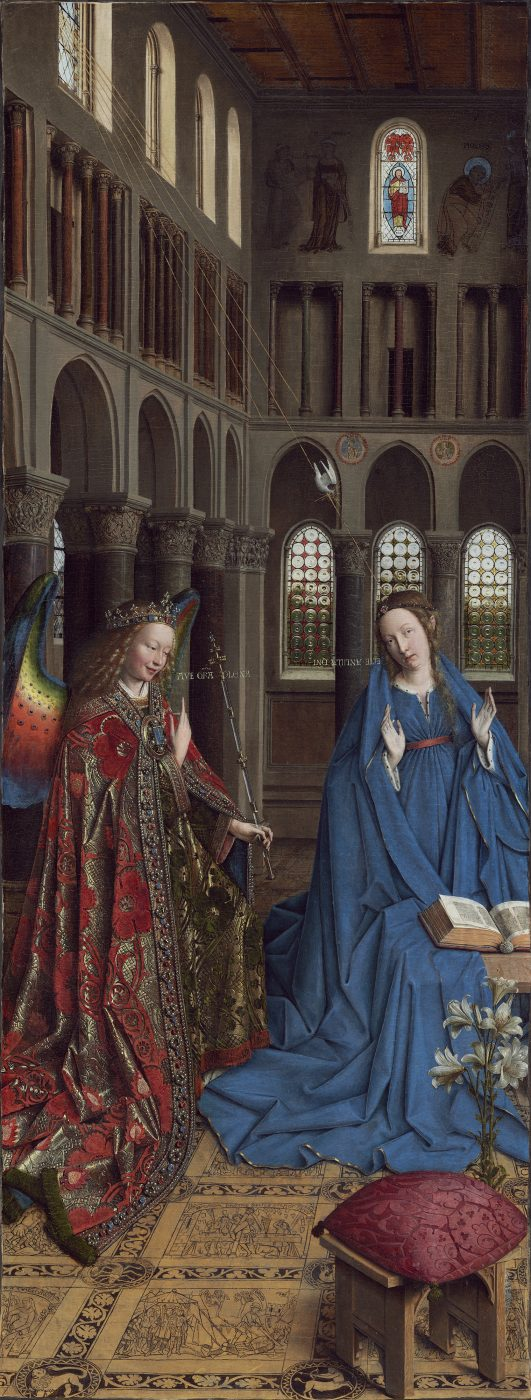 Jan van Eyck (Maaseik?, ca. 1390 - Brügge, 1441), Verkündigung des Herrn, ca. 1434 - 1436, Öl auf Holz auf Leinwand übertragen, 92,7 × 36,7 cm, Andrew W. Mellon Collection, National Gallery of Art, Washington, D.C.