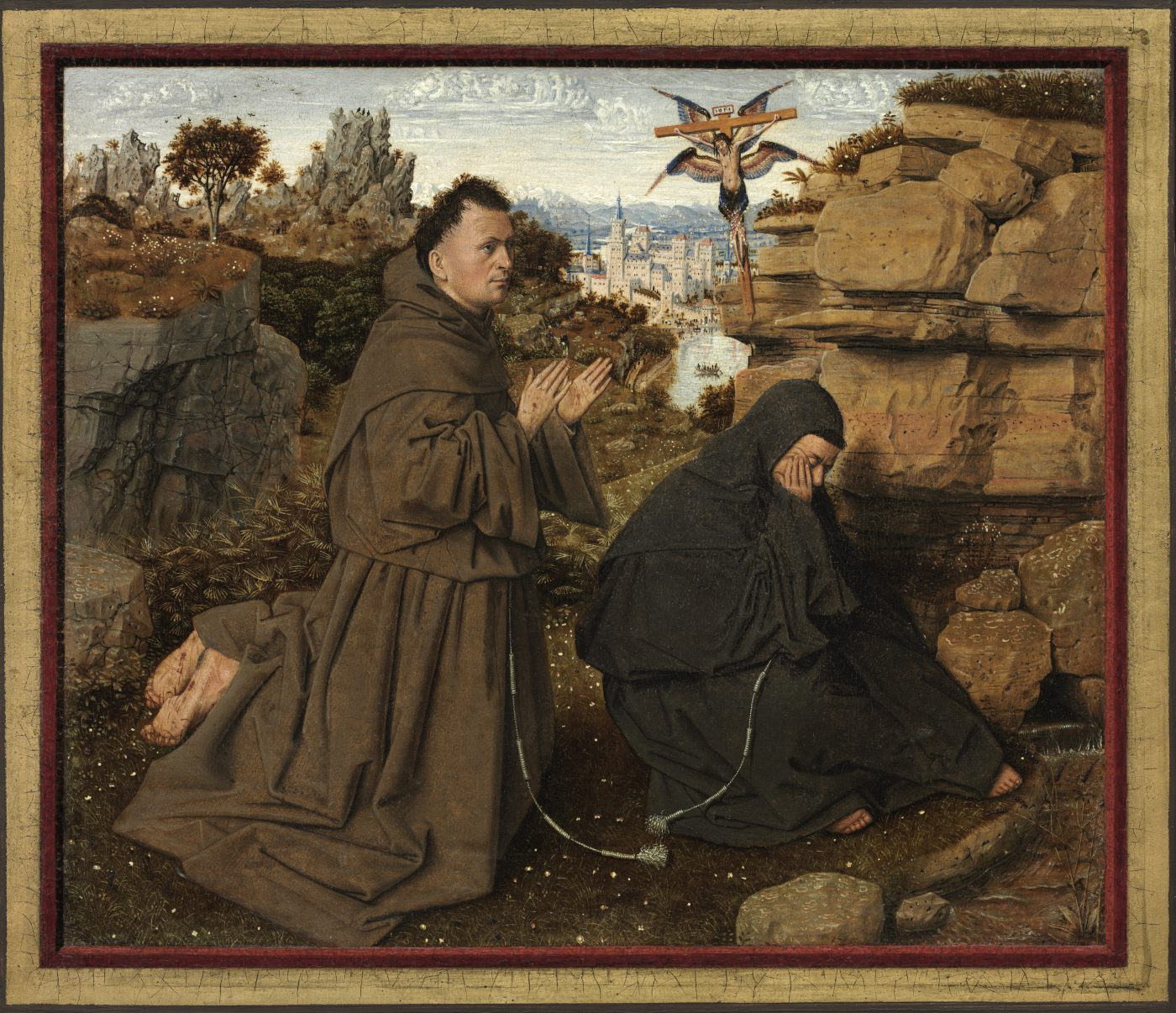 Jan van Eyck, Die Stigmatisierung des hl. Franziskus, ca. 1430 - 1432 (Philadelphia Museum of Art, John G. Johnson Collection, 1917, Courtesy of the Philadelphia Museum of Art)