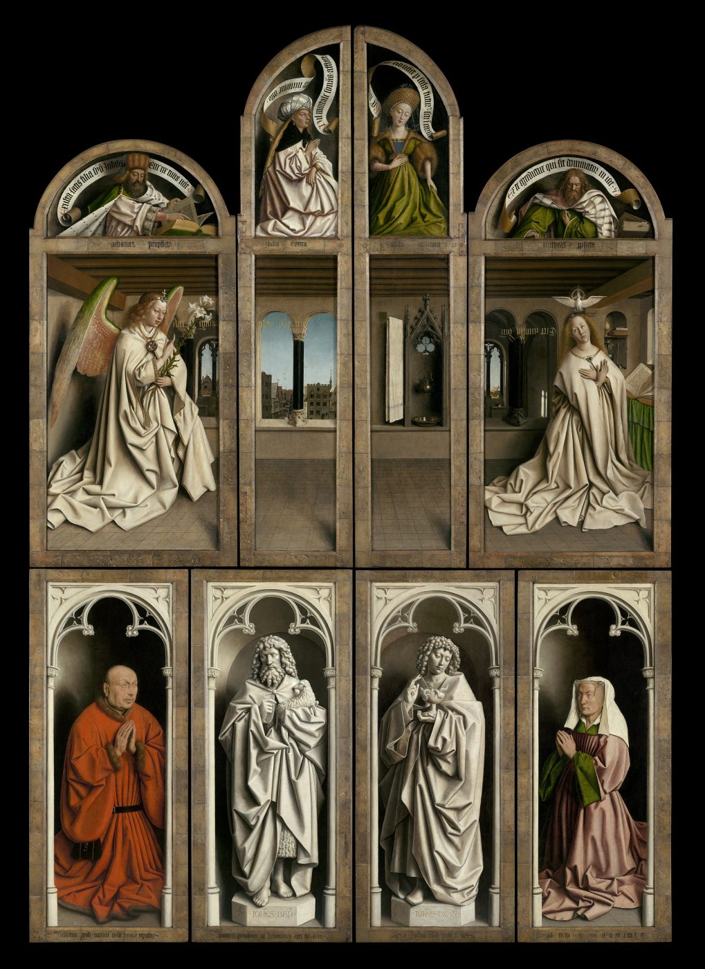 Jan en Hubert van Eyck, The Adoration of the Mystic Lamb, 1432 (outer panels) (St Bavo's Cathedral, Ghent © www.lukasweb.be - Art in Flanders vzw)